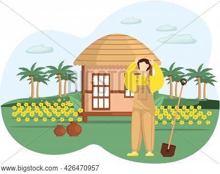 Professional Gardener Works In Garden. Farmer Works In Field. Spring Farm Work In Yard, Agriculture.