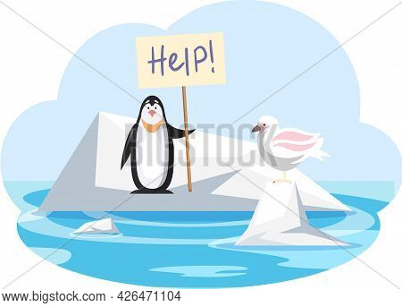 Seagull And Penguin On Ice Floe Need Help, Global Warming Concept, Change Climate At North Pole. Gla