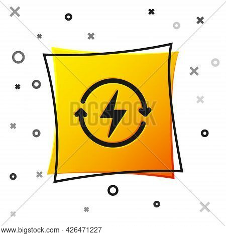 Black Recharging Icon Isolated On White Background. Electric Energy Sign. Yellow Square Button. Vect
