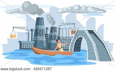 Save Planet, Climate Change Concept With Woman Takes Selfie Sailing In Boat Near Smoking Chimneys. H