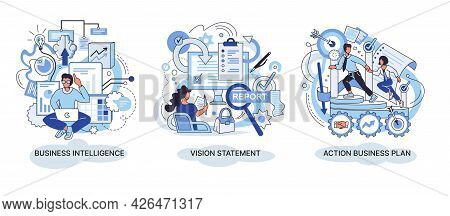 Business Intelligence Action Business Plan. Strategic Planning Automation Process. Mission Rules Vis