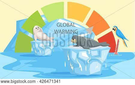 Scale With Indicator Of Global Warming. Earth Temperature Rise And Glacier Melting Affect Animals. P