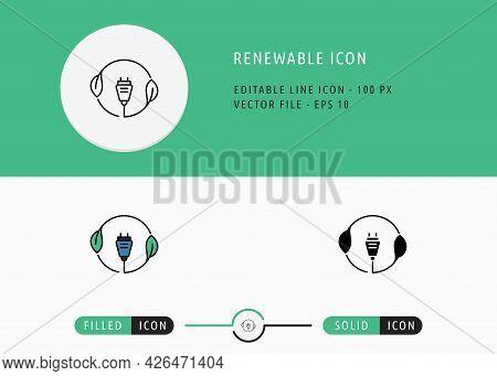 Renewable Icons Set Editable Stroke Vector Illustration. Energy Power Resource Symbol. Icon Line Sty