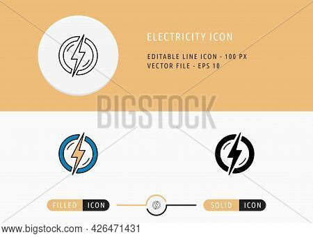 Electricity Icons Set Editable Stroke Vector Illustration. Energy Power Resource Symbol. Icon Line S