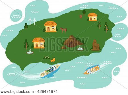 Map Of Area And Attractions Of Green Island Top View. Famous Landmarks Parks And Villages, Adventure