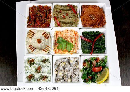 Arabian Turkish Food Plate Close-up, Selection Of Appetizers, Meze Tabagi