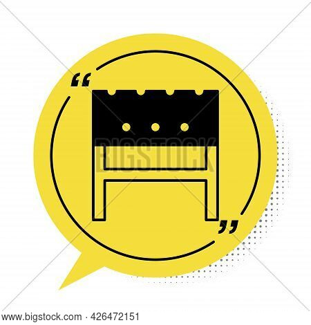 Black Bbq Brazier Icon Isolated On White Background. Yellow Speech Bubble Symbol. Vector