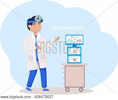 Doctor With Forehead Reflector Treatment Of Pathologies Of Throat, Ear And Nose In Hospital. Otolary