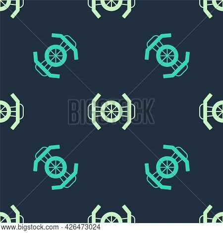 Green And Beige Cosmic Ship Icon Isolated Seamless Pattern On Blue Background. Vector