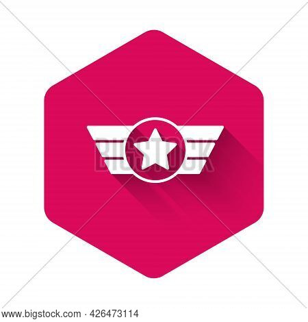 White Star American Military Icon Isolated With Long Shadow Background. Military Badges. Army Patche