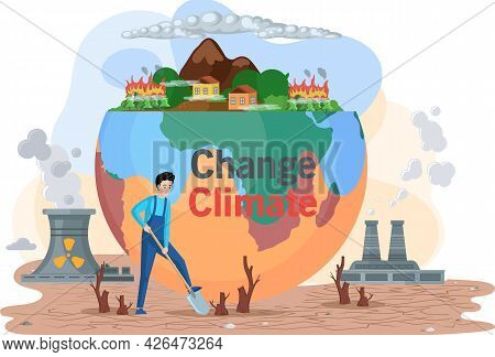 People Are Trying To Save Environment On Earth. Planet Surrounded By Factory Pipes And Lifeless Land