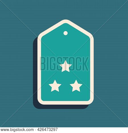 Green Military Rank Icon Isolated On Green Background. Military Badge Sign. Long Shadow Style. Vecto