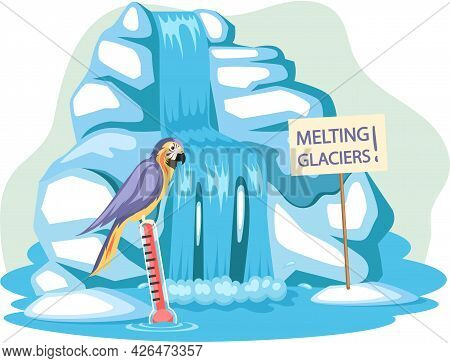 Parrot Near On Iceberg Escapes From Climate Change And Global Warming. Animals During Global Warming