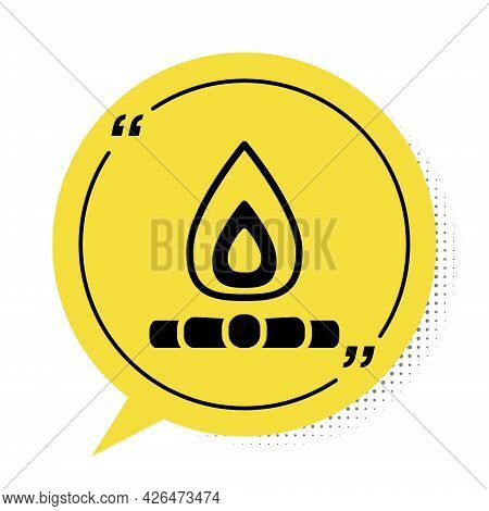 Black Campfire Icon Isolated On White Background. Burning Bonfire With Wood. Yellow Speech Bubble Sy