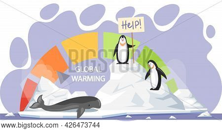 Penguins And Whale Are Very Sad About Melting Glaciers. Animals During Global Warming Concept. Anima