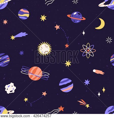 Seamless Childish Pattern With Planet, Star And Comet In Space. Cosmos Background With Celestial Obj