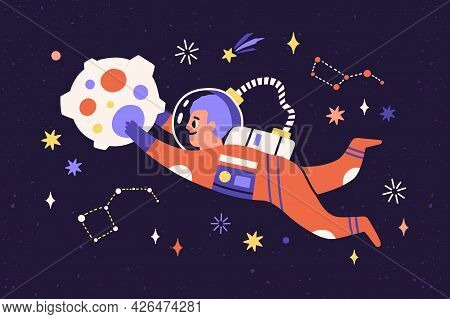 Child Astronaut In Spacesuit Travel In Cosmos. Cosmonaut Flying And Floating In Outer Space With Sta