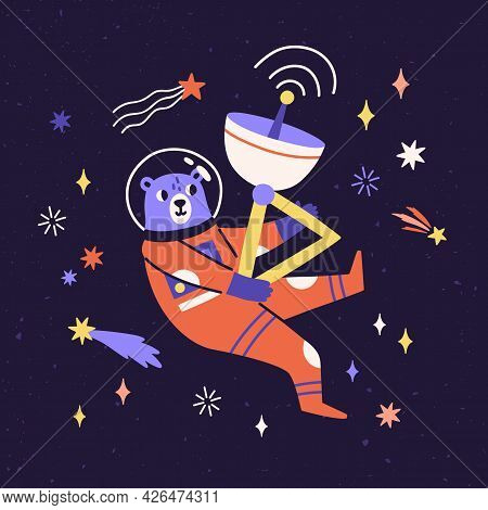 Cute Bear Astronaut In Space Suit Flying In Cosmos Among Stars And Comets. Funny Animal Cosmonaut Tr