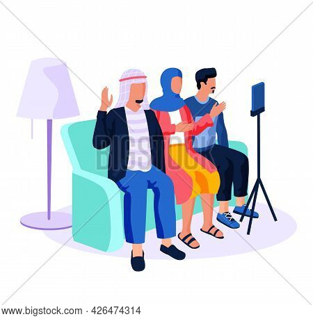 People Of Arab Nationality Give An Interviews. Recording Video Massage On Smartphone Camera. Men And