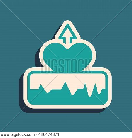 Green Heartbeat Increase Icon Isolated On Green Background. Increased Heart Rate. Long Shadow Style.