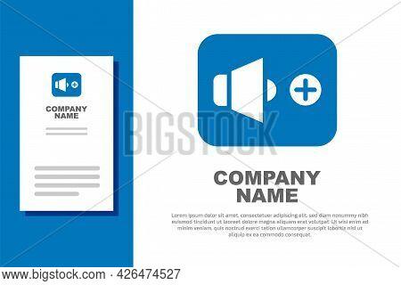 Blue Speaker Volume, Audio Voice Sound Symbol, Media Music Icon Isolated On White Background. Logo D