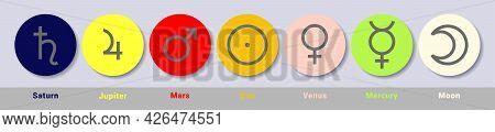 Planet Symbol Set. Vector Color Signs. Astrological Calendar. Saturn, Jupiter, Mars, Sun, Venus, Mer