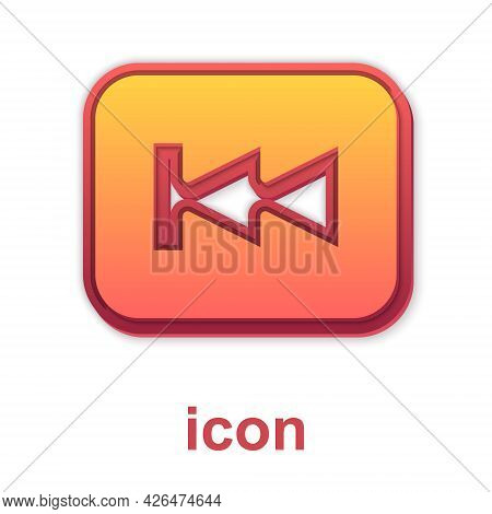 Gold Rewind Button Icon Isolated On White Background. Vector