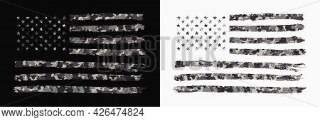Usa Flag With Camouflage. Set Of Camo American Flag In Military Style With Grunge. Typography Graphi