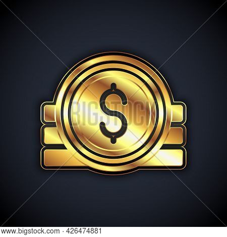 Gold Ancient Coin Icon Isolated On Black Background. Vector
