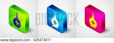 Isometric Bottle With Potion Icon Isolated On Grey Background. Flask With Magic Potion. Happy Hallow