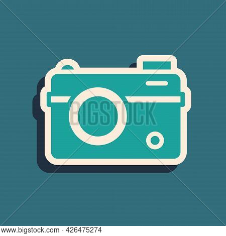 Green Photo Camera Icon Isolated On Green Background. Foto Camera. Digital Photography. Long Shadow