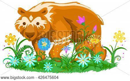 Brown Bear On Flower Meadow Totem Animal Symbol