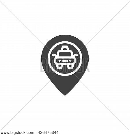 Map Pin With Taxi Vector Icon. Filled Flat Sign For Mobile Concept And Web Design. Taxi Location Pin