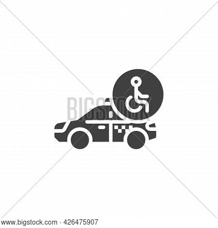 Accessible Taxi Service Vector Icon. Filled Flat Sign For Mobile Concept And Web Design. Wheelchair