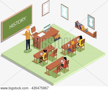School Education Isometric Teacher And Pupil At History Lesson. Learning Process In Classroom. High