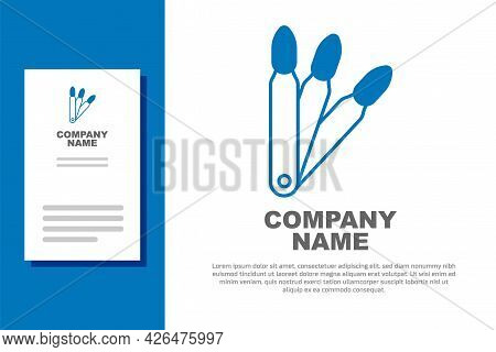 Blue Set Of False Nails For Manicure Icon Isolated On White Background. Varnish Color Palette For Na