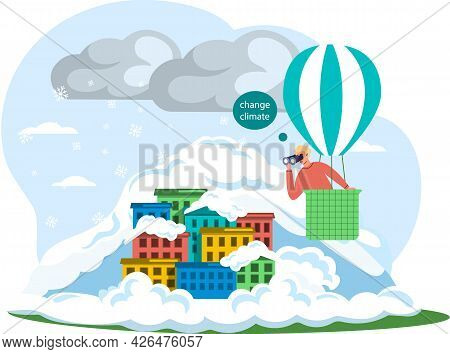 Man Flies In Hot Air Balloon Looks Through Binoculars At Studies Climate Change. Take Care About Pla