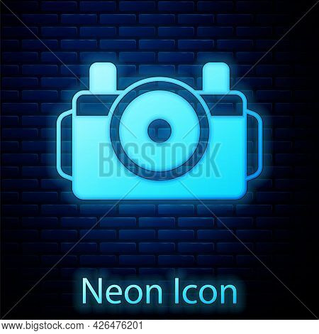 Glowing Neon Photo Camera For Diver Icon Isolated On Brick Wall Background. Foto Camera Icon. Diving