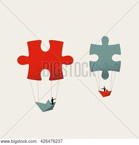 Business Cooperation And Negotiation Vector Concept. Symbol Of Teamwork, Creative Solutions. Minimal