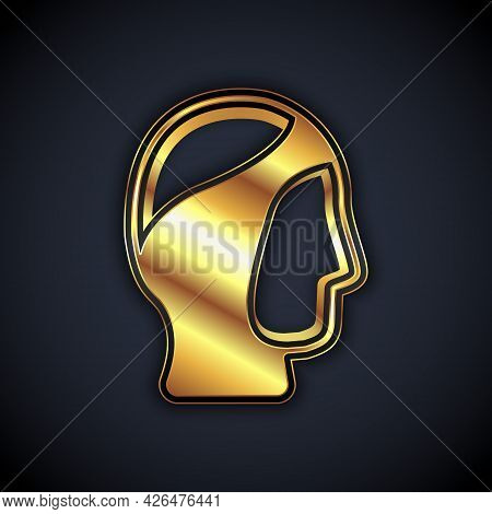 Gold Diving Hood Icon Isolated On Black Background. Spearfishing Hat Winter Swim Hood. Diving Underw
