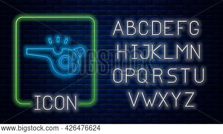 Glowing Neon Whistle Icon Isolated On Brick Wall Background. Referee Symbol. Fitness And Sport Sign.