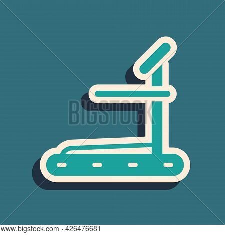 Green Treadmill Machine Icon Isolated On Green Background. Long Shadow Style. Vector