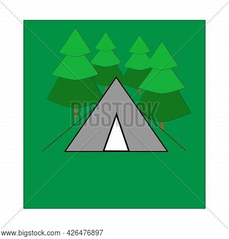 Sign Place For Tent On Green Square. Place Camp Outdoor. Spot For Tent To Summer Rest. Card Of Infor