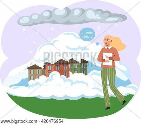 Woman Stands Near White Cloud Of Steam. Global Warming And Environmental Problems. Temperature Of Ea