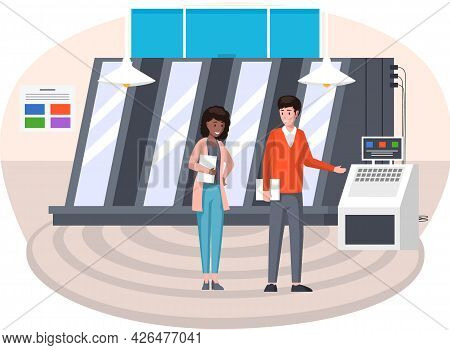 People Standing Near Printing Equipment. Print Shop Services, Printing Process. Cartoon Characters I