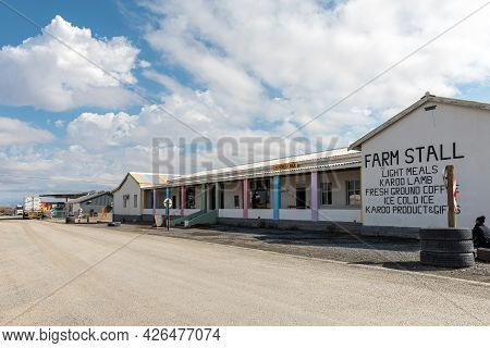 Prince Albert Road, South Africa - April 20, 2021: A Street Scene, With A Farm Stall, In Prince Albe
