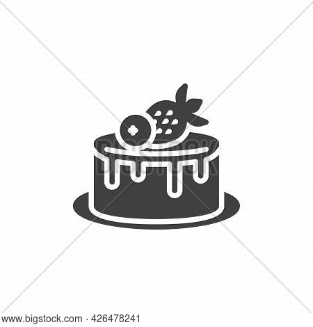Strawberry Cake Vector Icon. Filled Flat Sign For Mobile Concept And Web Design. Birthday Cake With