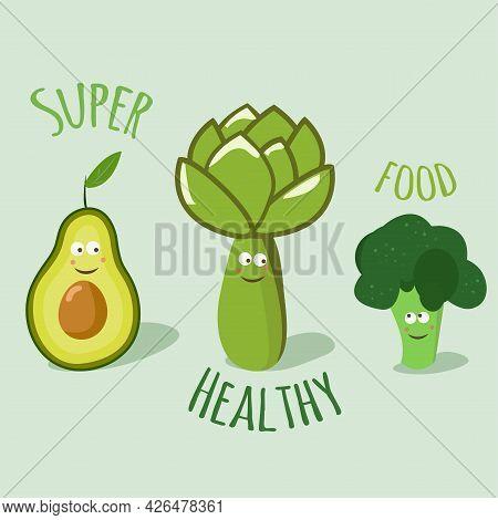 Set Of Cute Superfood Vegetable Characters: Avocado, Artichoke And Broccoli