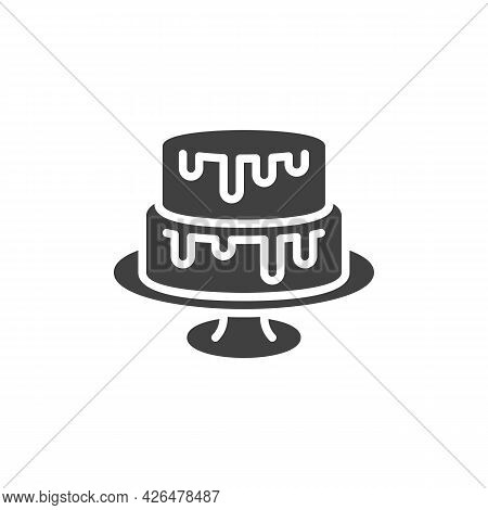 Two Tiered Cake Vector Icon. Filled Flat Sign For Mobile Concept And Web Design. Wedding Cake On Sta