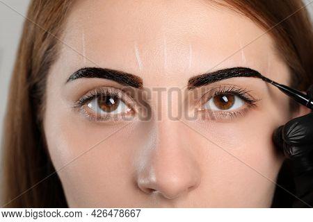 Beautician Applying Tint During Eyebrows Correction Procedure, Closeup